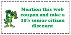 Mention this web coupon and take a 10% senior citizen discount!